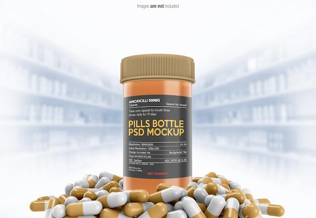 Nahaufnahme auf medizinpillen mit flaschenmodell