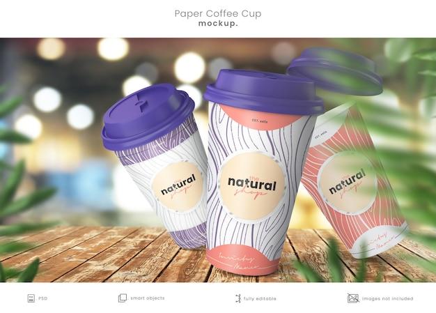 Nahaufnahme auf papier kaffeetasse design mockup