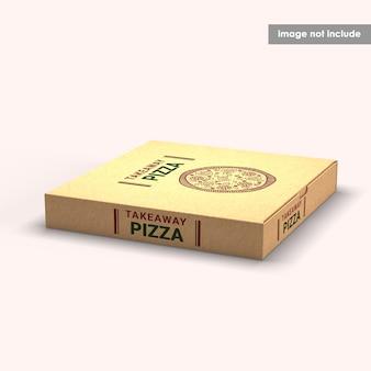 Nahaufnahme auf pizza box mockup isolated