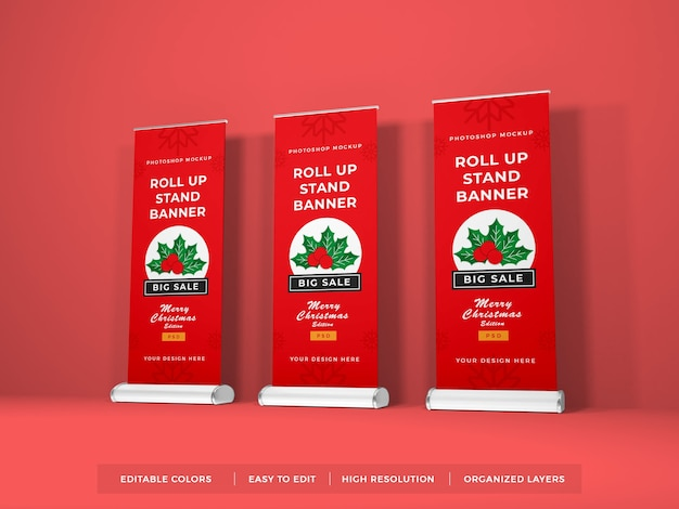 Nahaufnahme auf roll up banner mockup isolated