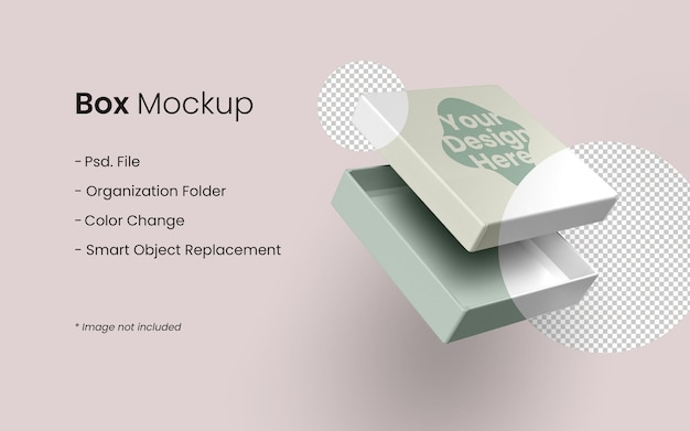 Nahaufnahme auf souvenir box mockup design isoliert