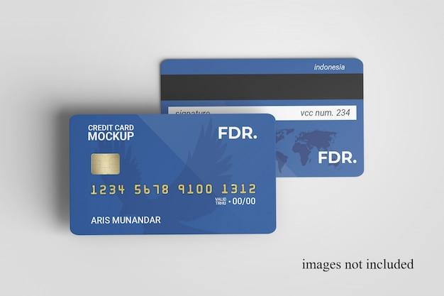 Nahaufnahme auf standing credit cards mockup