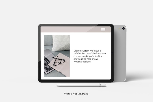 Nahaufnahme auf tablet device mockup isolated