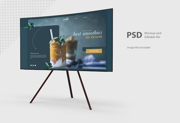 Nahaufnahme auf tv-monitor mit ständer isoliert