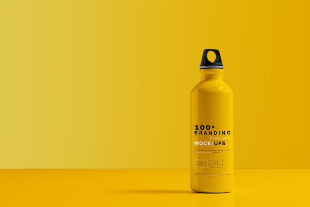 Nahaufnahme auf verpackung des aluminium-wasserflaschen-modells