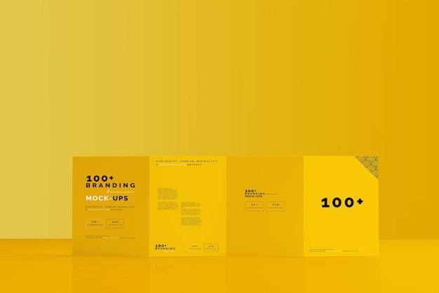 Nahaufnahme auf verpackung des vierfachen broschürenmodells