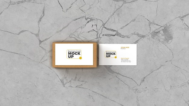 Nahaufnahme auf visitenkarte mit box mockup