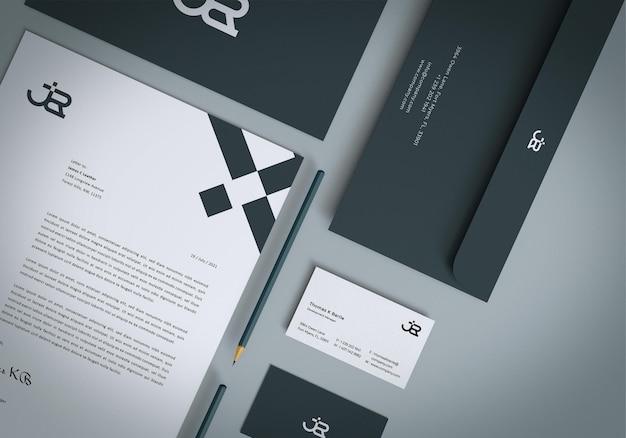Nahaufnahme branding briefpapier set mockup design Premium PSD