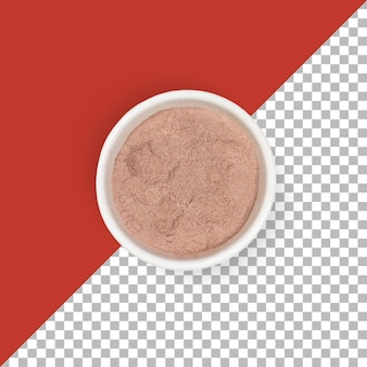 Nahaufnahme braunes schokoladenpulver auf weißer schüssel.