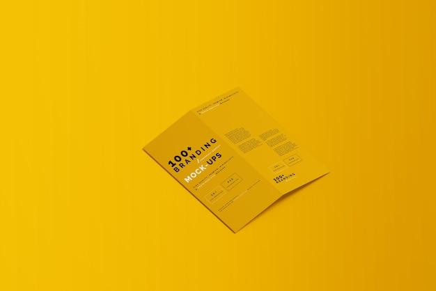 Nahaufnahme der verpackung von bi fold dl brochure mockup