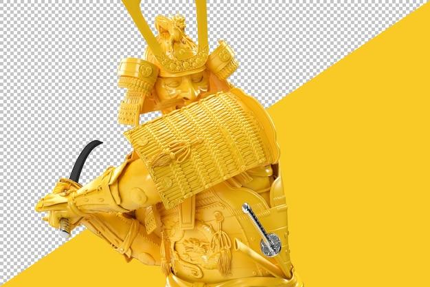 Nahaufnahme des samurai-kriegers mit katana isoliert