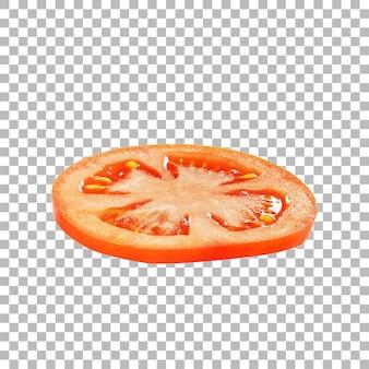 Nahaufnahme frische tomatenscheibe isoliert