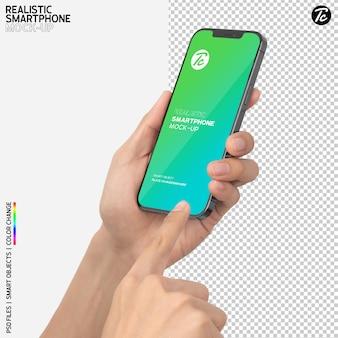 Nahaufnahme hand, die smartphone-modell hält und verwendet