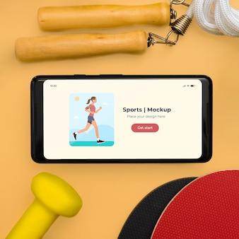 Nahaufnahme mobile und sportausrüstung