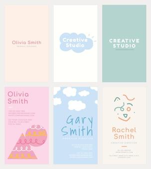 Namenskartenvorlage psd-set in sanften pastellfarbenmustern