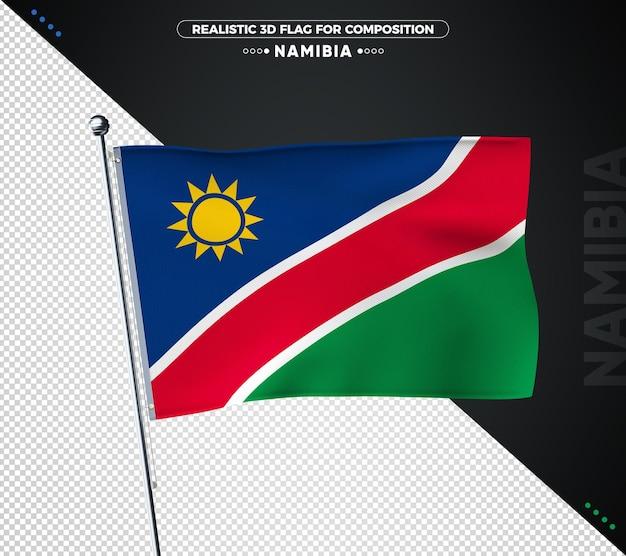 Namibia flagge mit realistischer textur isoliert