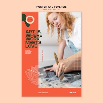 National art day flyer vorlage mit foto