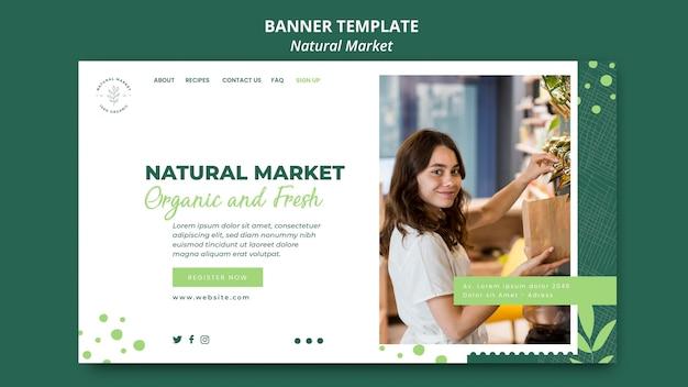 Natürliche marktkonzept-bannerschablone