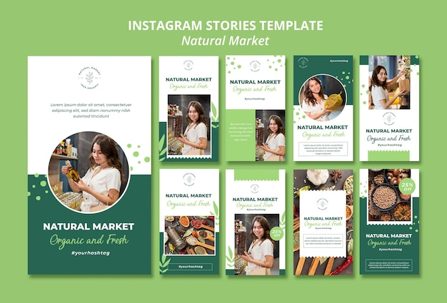 Natürliche marktkonzept instagram geschichten vorlage