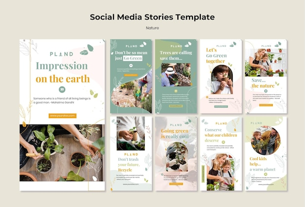 Natürliche pflanzen social media geschichten