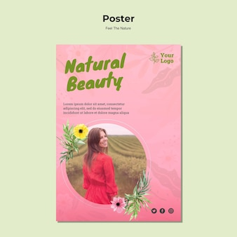 Natürliche schönheitsplakatschablone