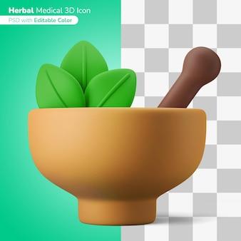 Natürliche traditionelle kräutermedizin 3d-darstellung 3d-symbol editierbare farbe isoliert