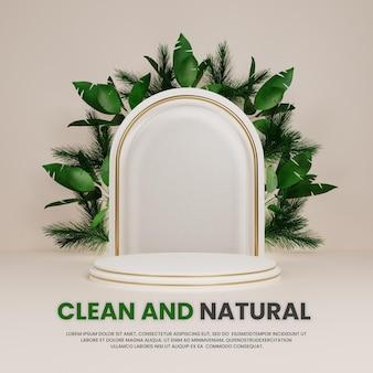 Natürliches elegantes luxus-podium mit tropischer pflanze