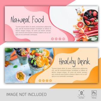 Natürliches essen und gesundes getränk banner