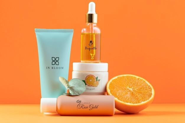 Natürliches orangensaftkosmetiksortiment
