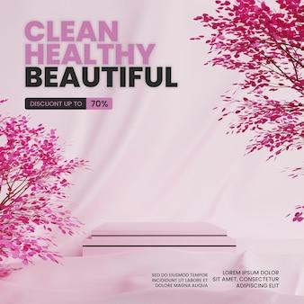 Natürliches rosa stoff-podium mit baum