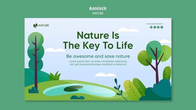 Natur ist der schlüssel des lebens banner vorlage