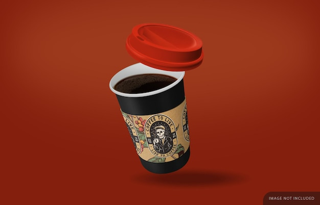 Nehmen sie das kaffeetassenmodell mit schwarzem kaffee und sicherheitsaufkleber weg