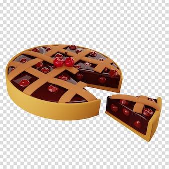 Nehmen sie ein stück kirschkuchen hausgemachte kuchenkuchen mit einer gitterkruste 3d-rendering