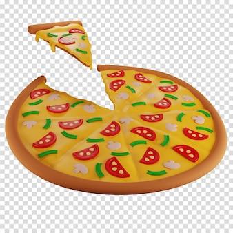 Nehmen sie ein stück pizza mit pilzen pizzeria isolierte darstellung 3d-rendering