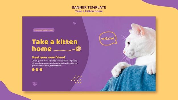 Nehmen sie eine kätzchen-banner-vorlage an