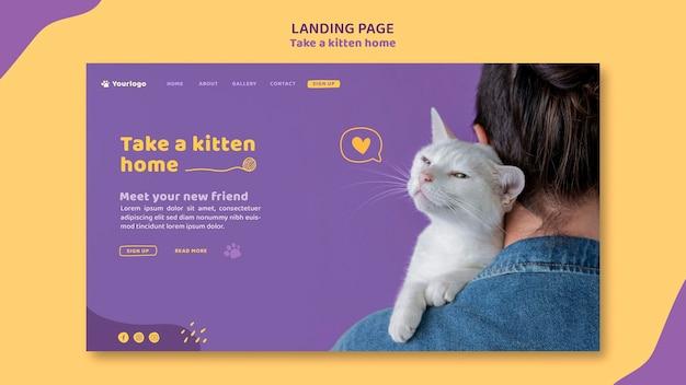Nehmen sie eine kätzchen-landingpage-vorlage an