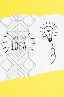 Nehmen sie ihr ideenzitat mit glühlampenskizzen und -gekritzeln