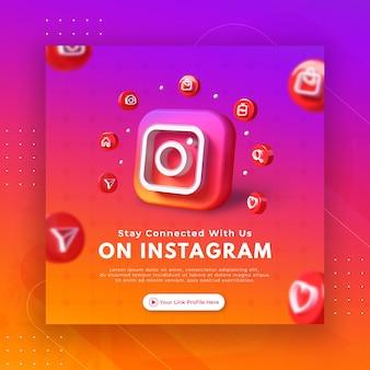 Nehmen sie kontakt mit uns auf der geschäftsseitenwerbung für die instagram-post-vorlage auf