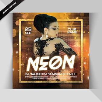 Neon dj party flyer