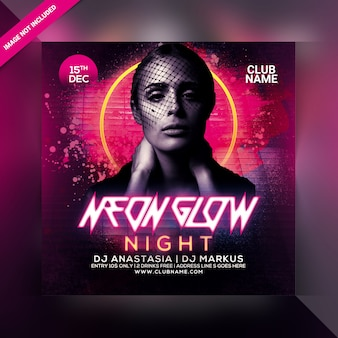 Neon glow night party flyer vorlage