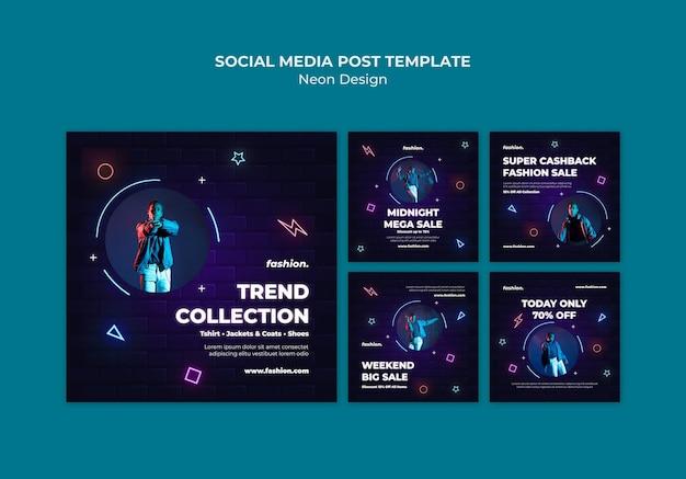 Neon instagram posts sammlung für den verkauf von bekleidungsgeschäften