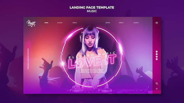 Neon landing page template für elektronische musik mit weiblichem dj