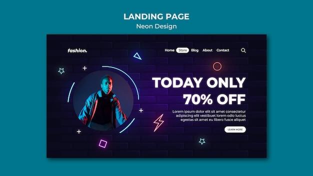 Neon-landingpage-vorlage für den verkauf von bekleidungsgeschäften