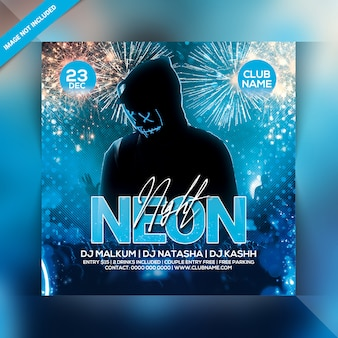 Neon nacht party flyer vorlage