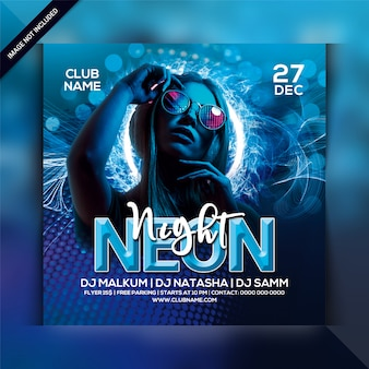 Neon nacht party flyer vorlage