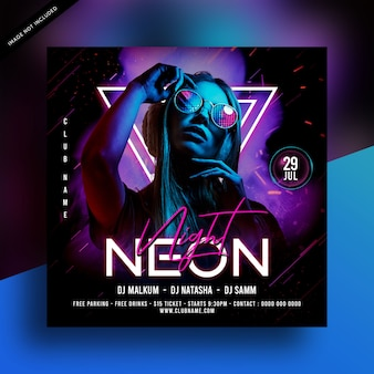 Neon nacht party flyer