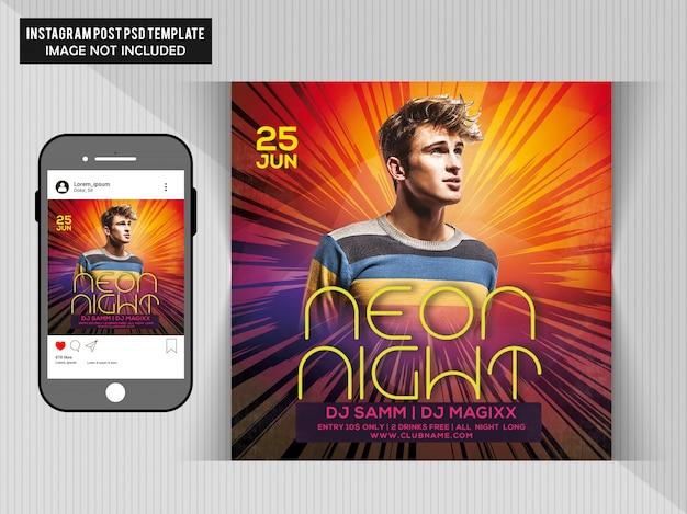 Neon nacht party flyer