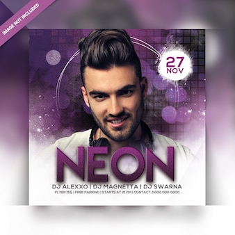Neon nacht party square flyer