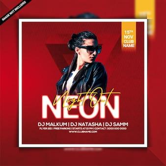 Neon night out dj club party flyer vorlage