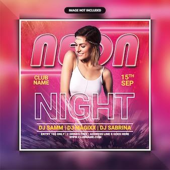 Neon night party flyer vorlage